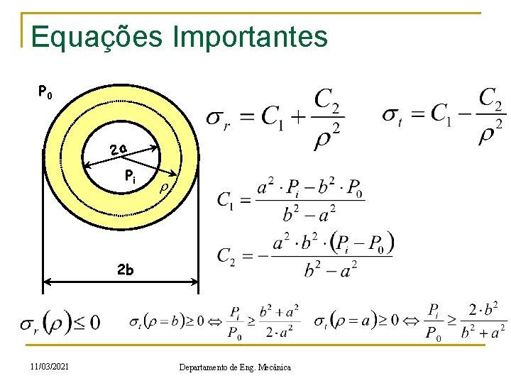 Equações Importantes P 0 2 a Pi r 2 b 11/03/2021 Departamento de Eng.