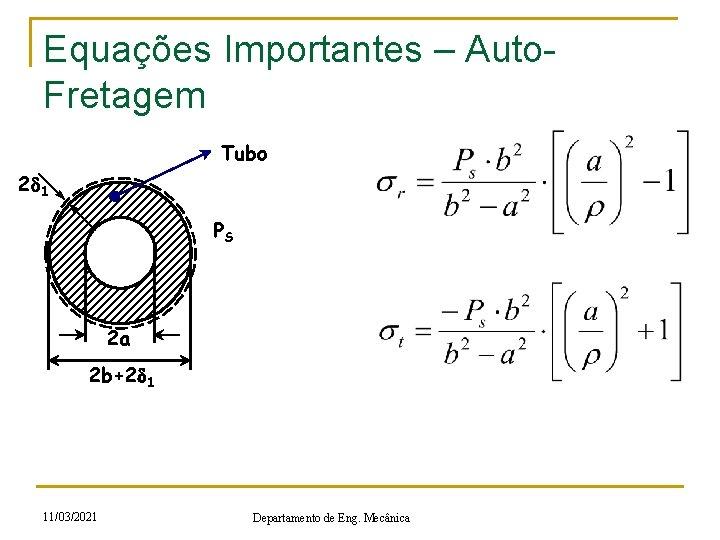 Equações Importantes – Auto. Fretagem Tubo 2 d 1 PS 2 a 2 b+2
