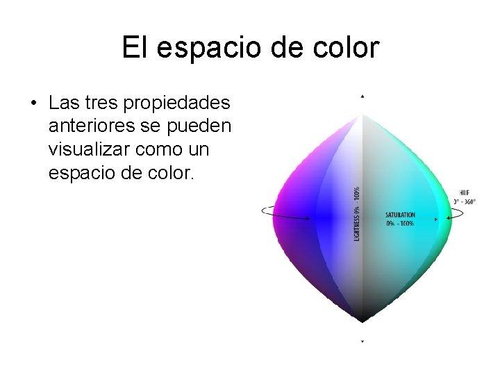 El espacio de color • Las tres propiedades anteriores se pueden visualizar como un