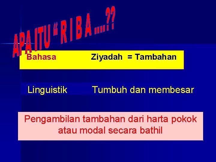 Bahasa Ziyadah = Tambahan Linguistik Tumbuh dan membesar Pengambilan tambahan dari harta pokok atau