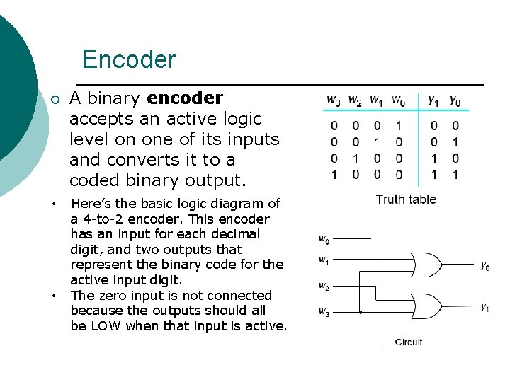 Encoder ¡ A binary encoder accepts an active logic level on one of its