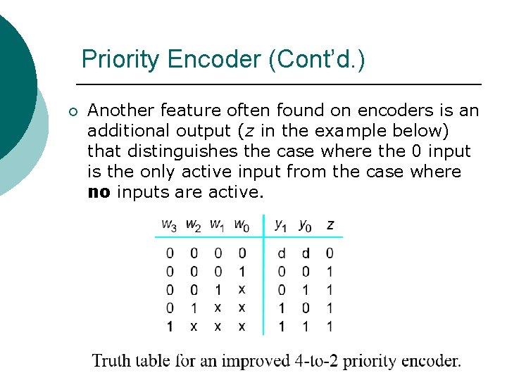 Priority Encoder (Cont'd. ) ¡ Another feature often found on encoders is an additional