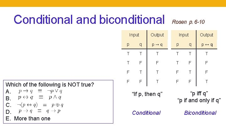 Conditional and biconditional Input Which of the following is NOT true? A. B. C.
