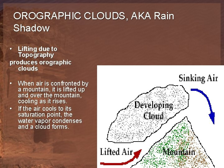 OROGRAPHIC CLOUDS, AKA Rain Shadow • Lifting due to Topography produces orographic clouds •