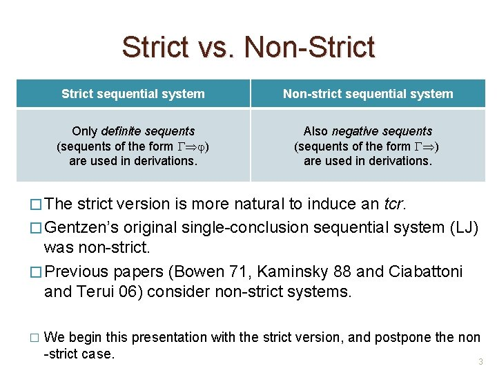Strict vs. Non-Strict sequential system Non-strict sequential system Only definite sequents (sequents of the