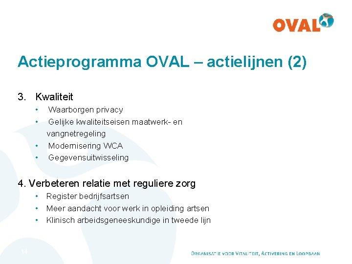 Actieprogramma OVAL – actielijnen (2) 3. Kwaliteit • Waarborgen privacy • Gelijke kwaliteitseisen maatwerk-