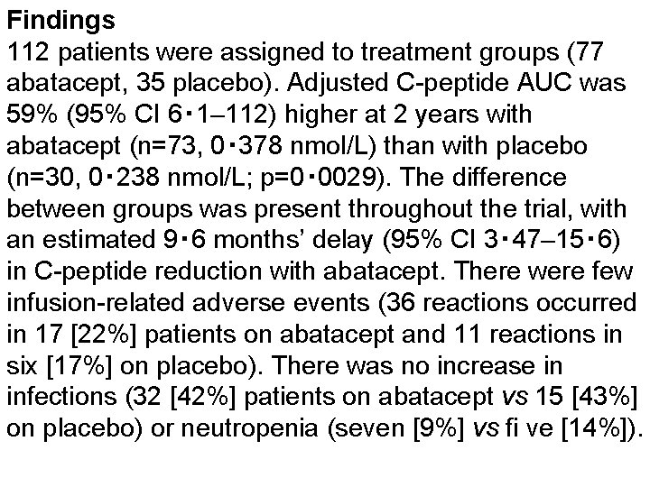 Findings 112 patients were assigned to treatment groups (77 abatacept, 35 placebo). Adjusted C-peptide