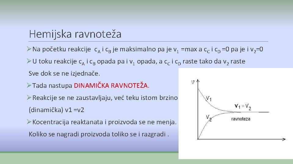 Hemijska ravnoteža ØNa početku reakcije c. A i c. B je maksimalno pa je