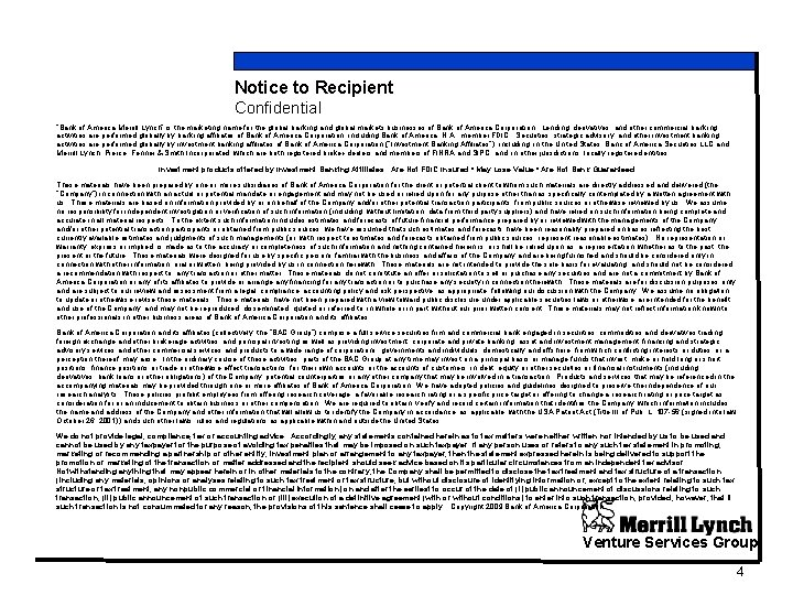 """Notice to Recipient Confidential """"Bank of America Merrill Lynch"""" is the marketing name for"""