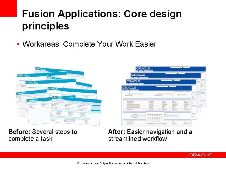 Fusion Applications: Core design principles • Workareas: Complete Your Work Easier Before: Several steps