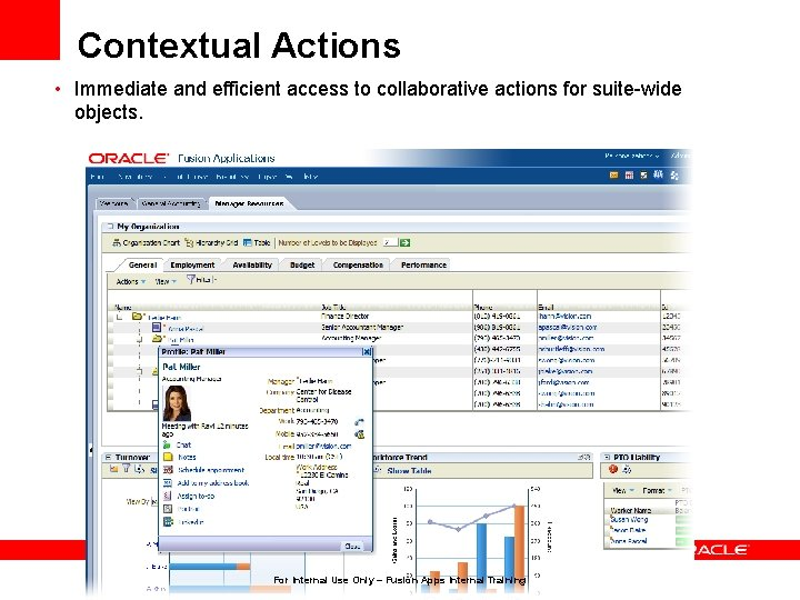 Contextual Actions • Immediate and efficient access to collaborative actions for suite-wide objects. For