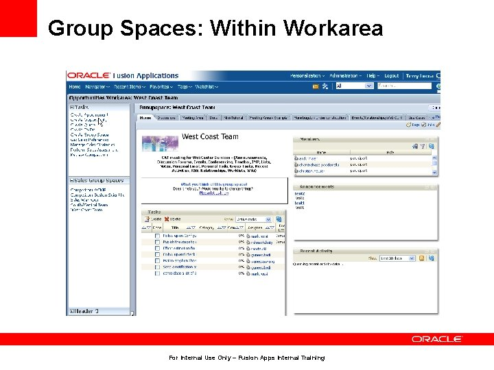 Group Spaces: Within Workarea For Internal Use Only – Fusion Apps Internal Training