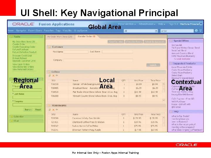 UI Shell: Key Navigational Principal Global Area Regional Area Local Area For Internal Use