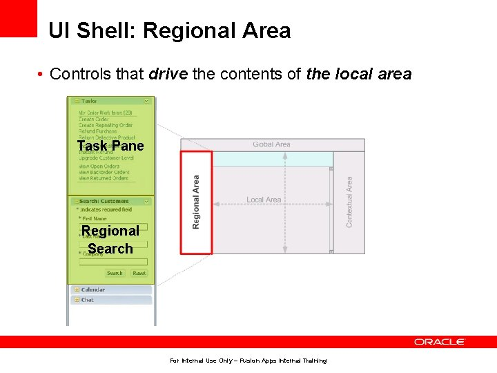 UI Shell: Regional Area • Controls that drive the contents of the local area