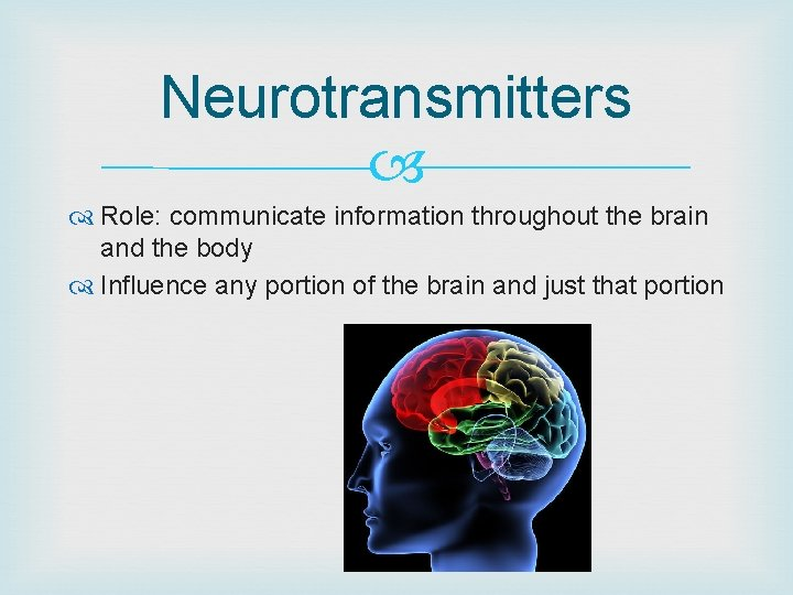 Neurotransmitters Role: communicate information throughout the brain and the body Influence any portion of