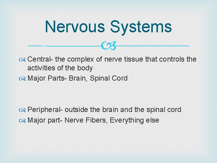 Nervous Systems Central- the complex of nerve tissue that controls the activities of the