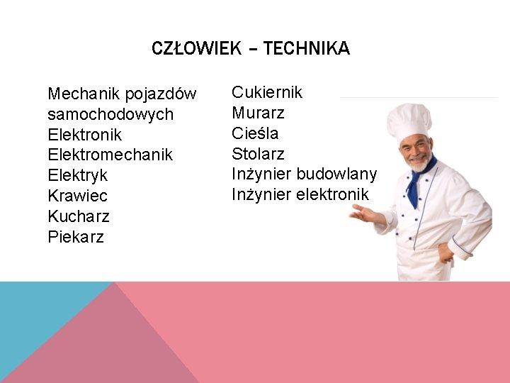 CZŁOWIEK – TECHNIKA Mechanik pojazdów samochodowych Elektronik Elektromechanik Elektryk Krawiec Kucharz Piekarz Cukiernik Murarz