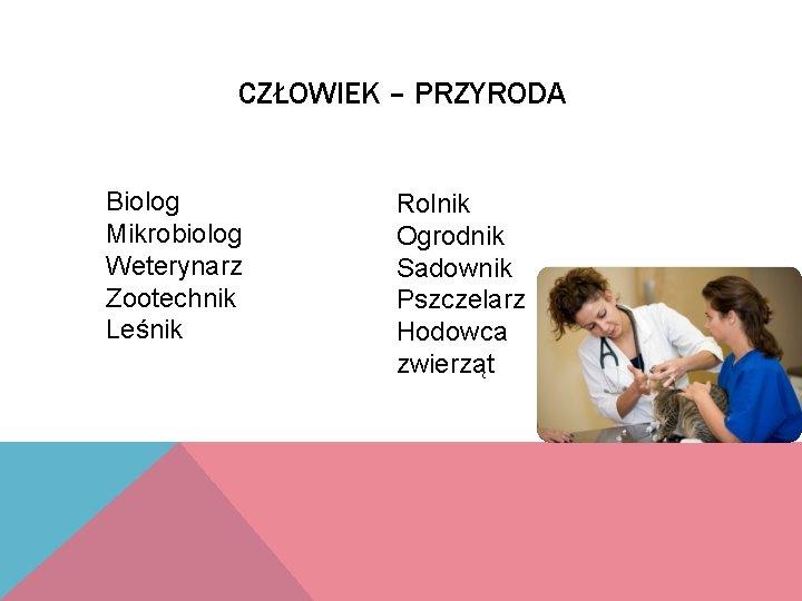 CZŁOWIEK – PRZYRODA Biolog Mikrobiolog Weterynarz Zootechnik Leśnik Rolnik Ogrodnik Sadownik Pszczelarz Hodowca zwierząt