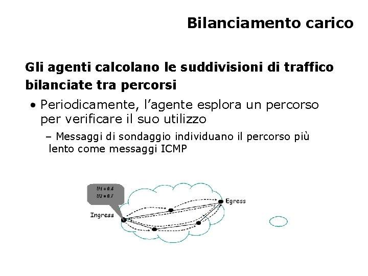 Bilanciamento carico Gli agenti calcolano le suddivisioni di traffico bilanciate tra percorsi • Periodicamente,