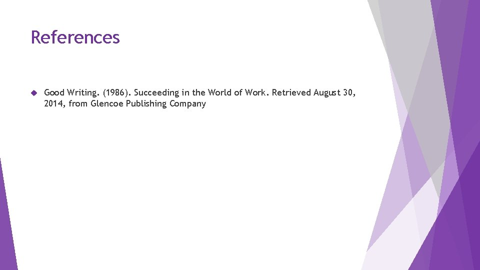 References Good Writing. (1986). Succeeding in the World of Work. Retrieved August 30, 2014,