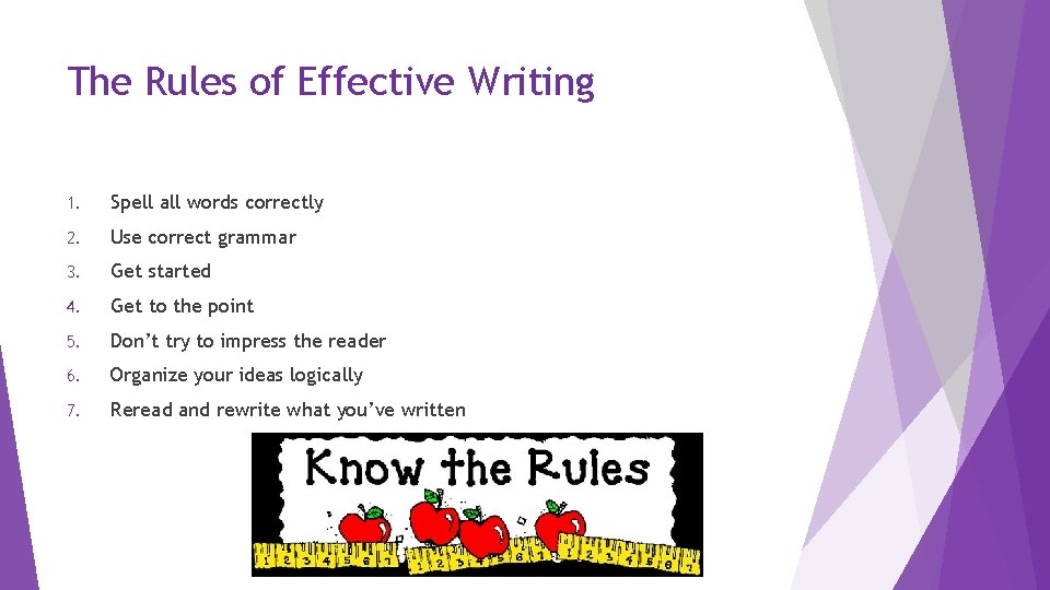 The Rules of Effective Writing 1. Spell all words correctly 2. Use correct grammar