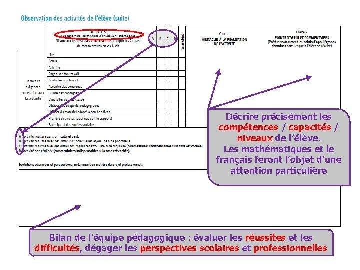 Décrire précisément les compétences / capacités / niveaux de l'élève. Les mathématiques et le