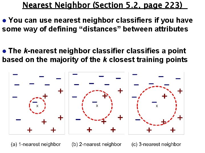 Nearest Neighbor (Section 5. 2, page 223) You can use nearest neighbor classifiers if