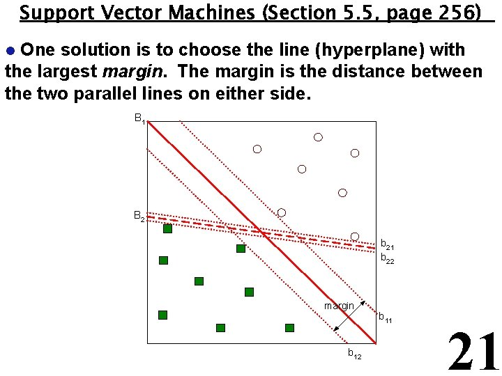 Support Vector Machines (Section 5. 5, page 256) One solution is to choose the