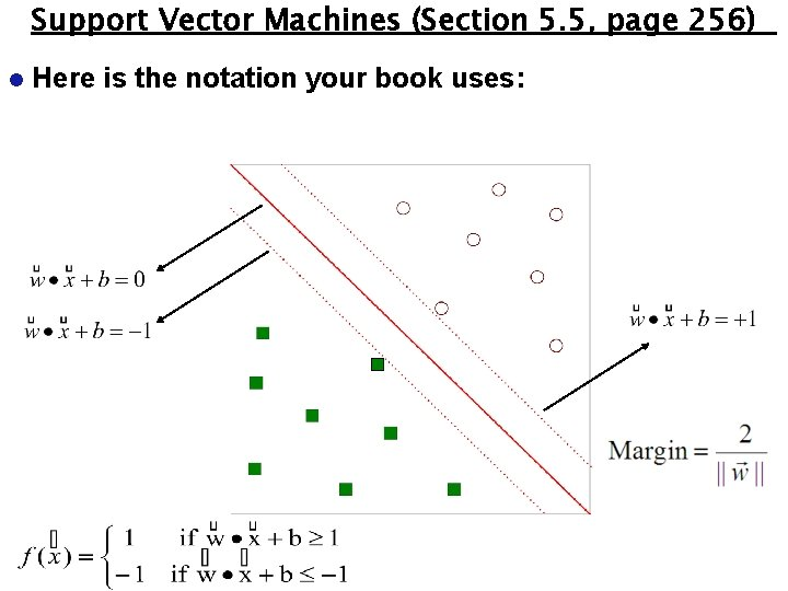 Support Vector Machines (Section 5. 5, page 256) l Here is the notation your