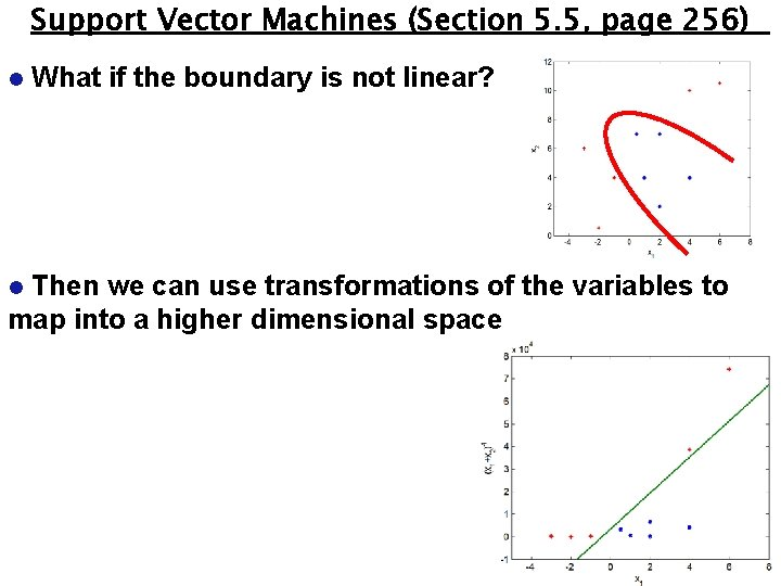 Support Vector Machines (Section 5. 5, page 256) l What if the boundary is