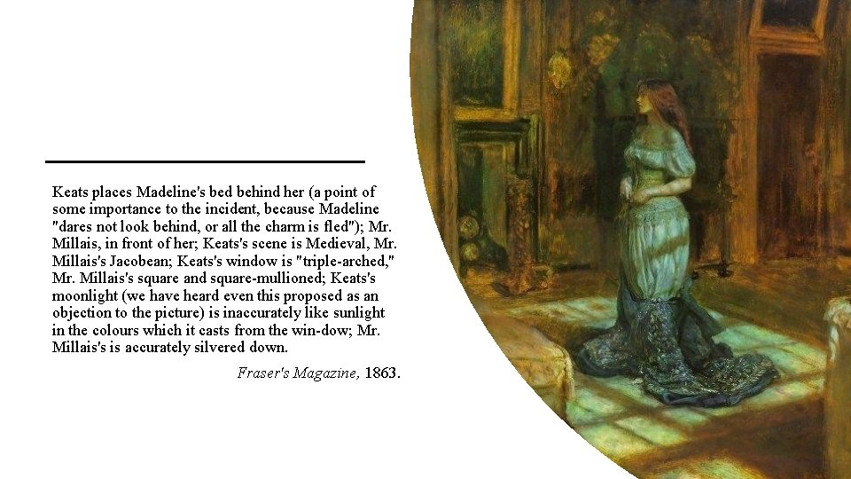 Keats places Madeline's bed behind her (a point of some importance to the incident,