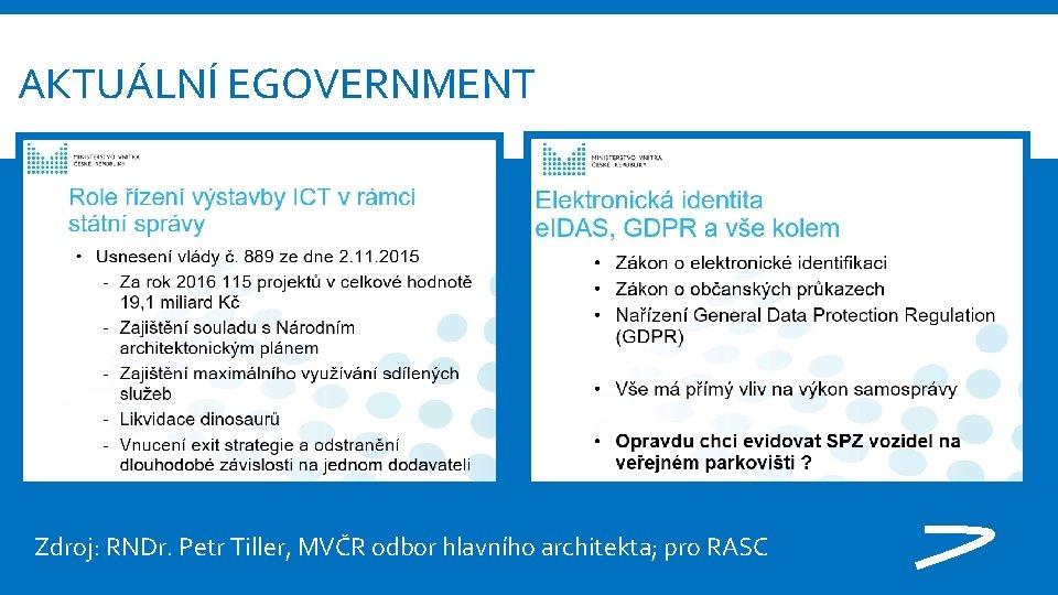 AKTUÁLNÍ EGOVERNMENT Zdroj: RNDr. Petr Tiller, MVČR odbor hlavního architekta; pro RASC