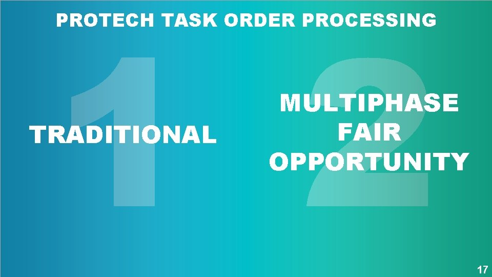 1 2 PROTECH TASK ORDER PROCESSING TRADITIONAL MULTIPHASE FAIR OPPORTUNITY 17
