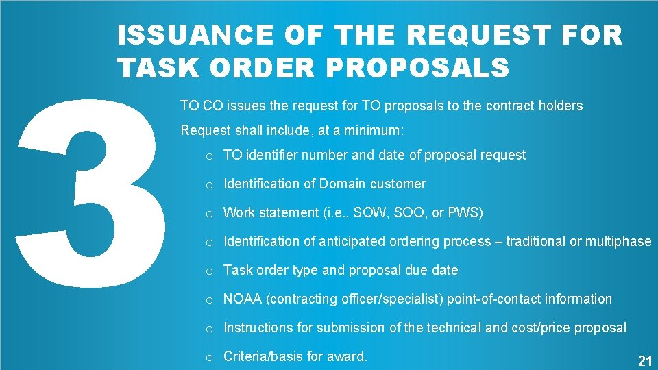 3 ISSUANCE OF THE REQUEST FOR TASK ORDER PROPOSALS TO CO issues the request