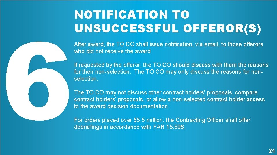 6 NOTIFICATION TO UNSUCCESSFUL OFFEROR(S) After award, the TO CO shall issue notification, via