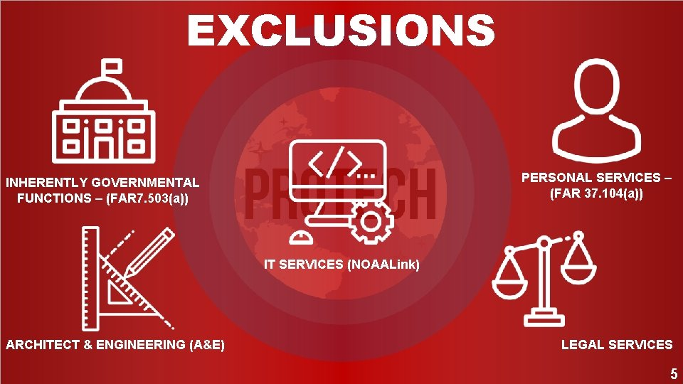 EXCLUSIONS PERSONAL SERVICES – (FAR 37. 104(a)) INHERENTLY GOVERNMENTAL FUNCTIONS – (FAR 7. 503(a))