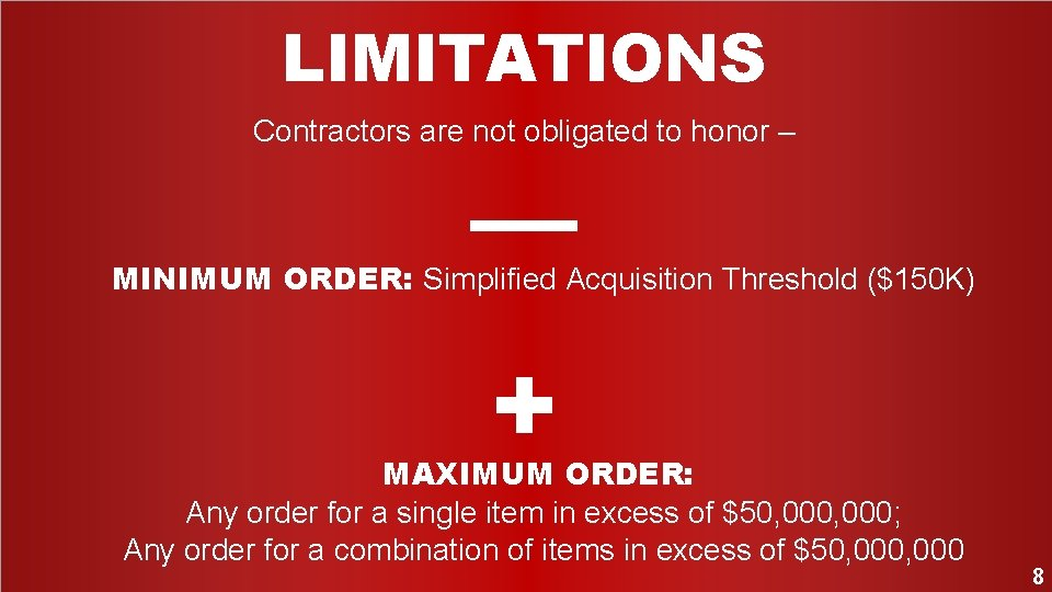 LIMITATIONS Contractors are not obligated to honor – –– MINIMUM ORDER: Simplified Acquisition Threshold