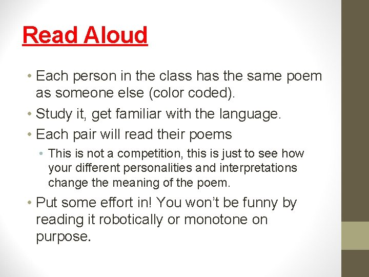 Read Aloud • Each person in the class has the same poem as someone