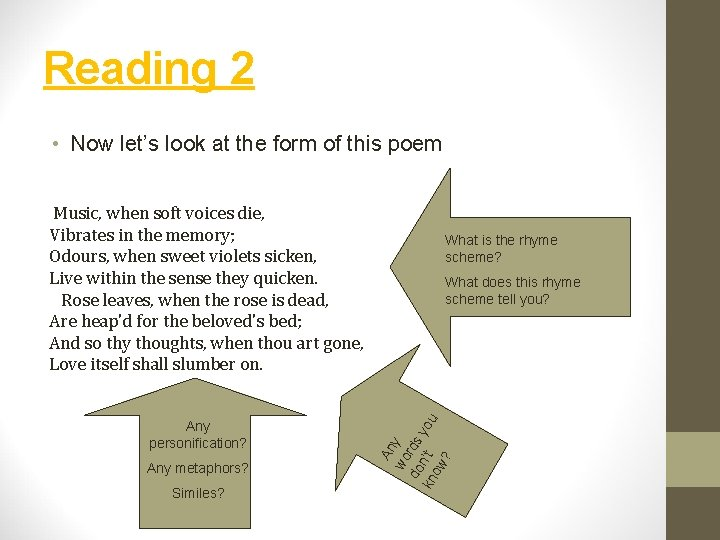 Reading 2 • Now let's look at the form of this poem Any personification?