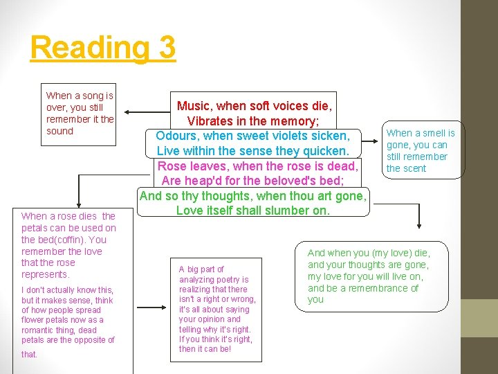 Reading 3 When a song is over, you still remember it the sound When