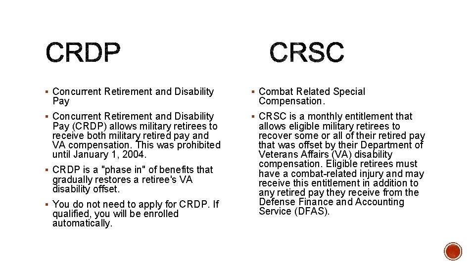 § Concurrent Retirement and Disability § Combat Related Special § Concurrent Retirement and Disability