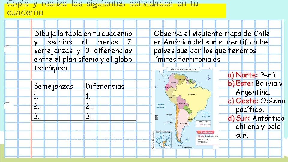 Copia y realiza las siguientes actividades en tu cuaderno Dibuja la tabla en tu