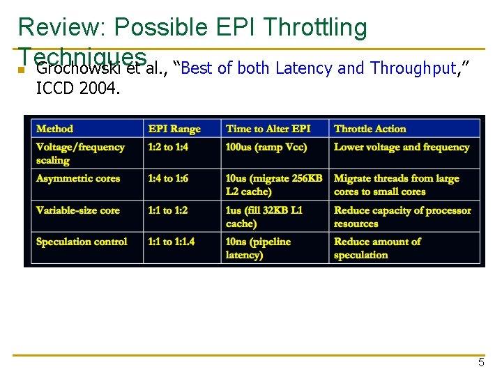 "Review: Possible EPI Throttling Techniques n Grochowski et al. , ""Best of both Latency"