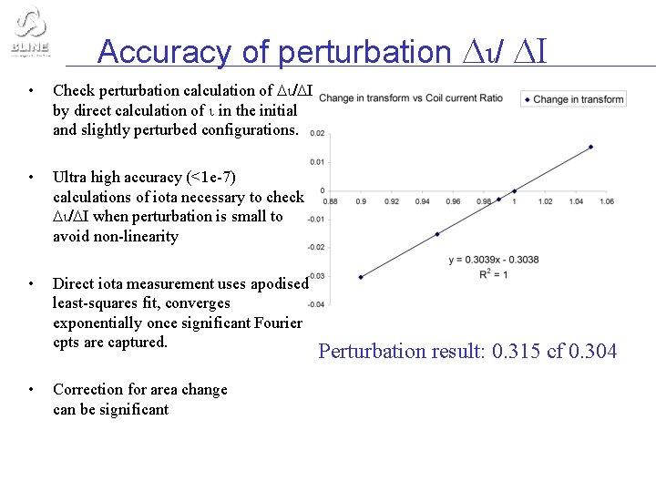 Accuracy of perturbation / I • Check perturbation calculation of / I by direct