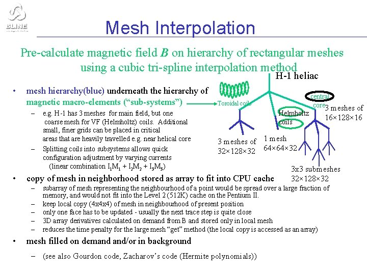 Mesh Interpolation Pre-calculate magnetic field B on hierarchy of rectangular meshes using a cubic
