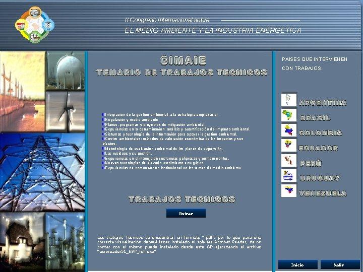 II Congreso Internacional sobre EL MEDIO AMBIENTE Y LA INDUSTRIA ENERGETICA PAISES QUE INTERVIENEN