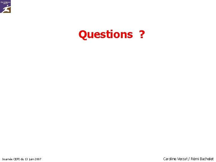 Questions ? Journée CEFI du 13 juin 2007 Caroline Verzat / Rémi Bachelet