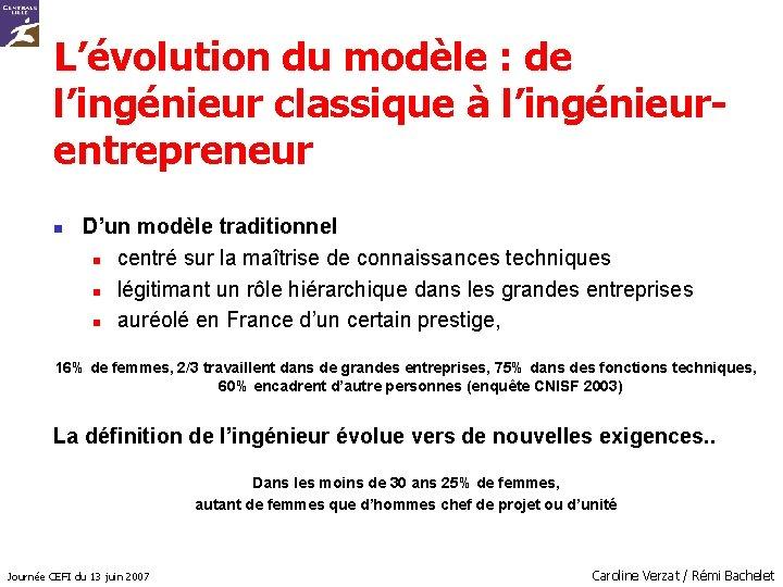 L'évolution du modèle : de l'ingénieur classique à l'ingénieurentrepreneur n D'un modèle traditionnel n