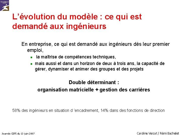 L'évolution du modèle : ce qui est demandé aux ingénieurs En entreprise, ce qui