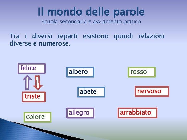 Il mondo delle parole Scuola secondaria e avviamento pratico Tra i diversi reparti esistono